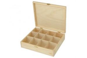Medinė dėžutė arbatai 12 skyrių su spynele 1049