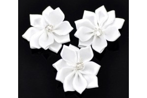 Flower white ribbon rhinestone 30 mm.