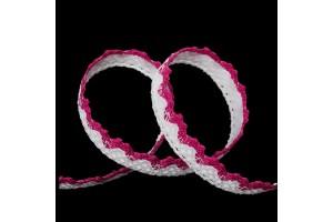 Nėrinys lipdukas baltas su rožine  18 mm 1 m