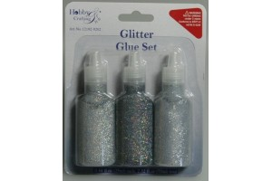 Glitter glue silver 3 pcs.
