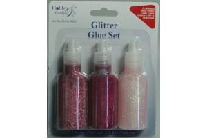 Glitter glue pink 3 pcs.