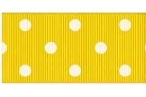 """Yellow- white polka dot ribbon """"grosgrain"""", 9 mm., 1 metre, 011015"""