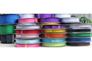 Sattin ribbon 16 mm. turguoise dot