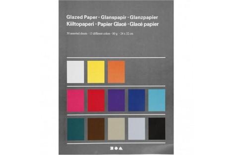 Blizgaus popieriaus rinkinys rankdarbiams 24x32 cm. 50 vnt.