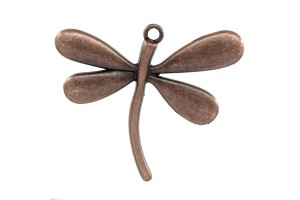 Pendant dragonfly antique copper 6x5 cm.