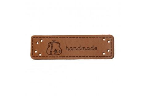 """Odinė etiketė 5cmx1.5 cm. """"hand made"""""""