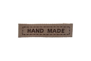 """Medvilninė etiketė 5.7cmx1 cm. """"hand made"""""""