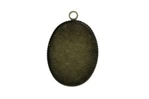 Pakabukas varinis bronzos spalvos ovalas rėmelis kabošonui 25x19 mm.