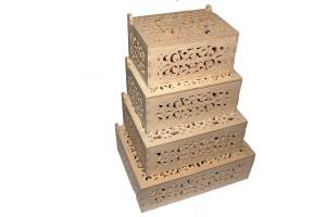 Medinės dėžutės ažurinės komplektas 4 vnt. RD64