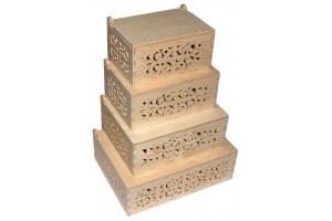 Medinės dėžutės ažuriniai šonai komplektas 4 vnt. RD65
