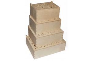 Medinės dėžutės ažurinis viršus komplektas 4 vnt. RD66