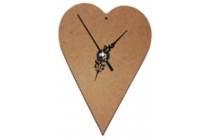 Clock MDF Heart with hands and gear