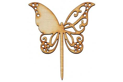 Medinė dekoracija drugelis ant kotelio 6x7 cm. Gift19