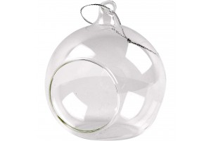 Glass ornament with hole 8 cm.