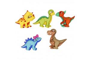 Vaikiškų sagų rinkinys dinozaurai 20x25 mm. 5 vnt.