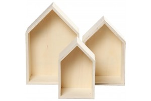 Wooden boxes houses 3 pcs. 20,3+25,3+31 cm.