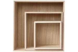 Wooden Storage Boxes, largest size 28x28x12,5 cm, Empress Tree, square, 3pcs