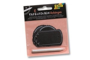 Blackboard tags with soap stone pen 6 pieces, black.