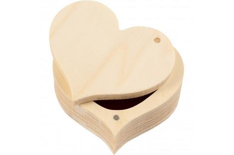 Medinė dežutė širdies formos 9x4 cm.