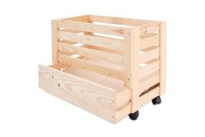 Medinė dėžė bulvėms 61x42x43 cm.
