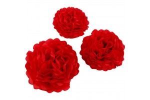 Tissue pom poms red 20+24+30 3 pcs.