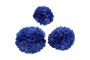 Tissue pom poms blue 20+24+30 3 pcs.