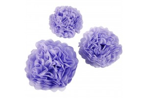 Tissue pom poms purple20+24+30 3 pcs.