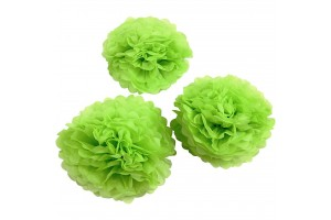Tissue pom poms light green 20+24+30 3 pcs.