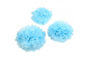 Tissue pom poms light blue 20+24+30 3 pcs.
