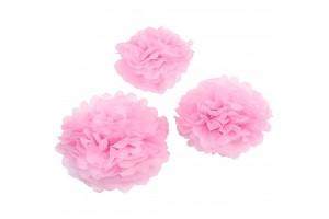 """""""Pom poms"""" pūkuotis šviesiai rožinė 20+24+30 cm.  3 vnt."""