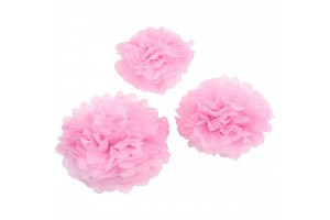 Tissue pom poms light pink  20+24+30 3 pcs.
