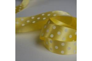 Satininė juostelė geltona su taškeliais 12 mm. 1 metras.