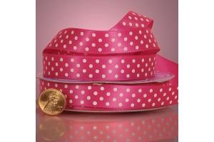 Satininė juostelė šviesi rožinė su taškeliais 12 mm. 1 metras.