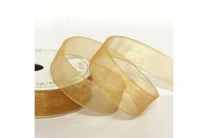 Organza juostelė auksinė 25 mm. 1 m.