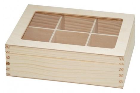 Medinė arbatos dėžutė 6 skyrių su stikliuku 21,3x16x6,8 cm. DR1835