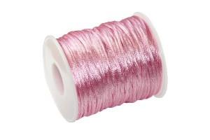 Satininė virvelė 2 mm. 1 m. vintažinė rožinė