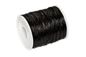 Satininė virvelė 2 mm. 1 m. juoda