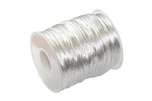 Satininė virvelė 2 mm. 1 m. sidabrinė