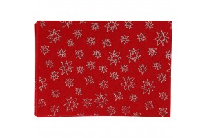 Felt, 20x30 cm., 1 mm., red with ornaments, 45381