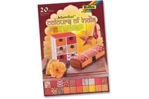 """Dekoratyvinio popieriaus rinkinys """"India"""" A4 formato,20 lapų, F550402"""