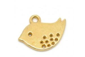 Aukso spalvos pakabukas paukštelis  16x13 mm.