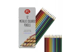 Wooden pencils set metallic 12 vnt.