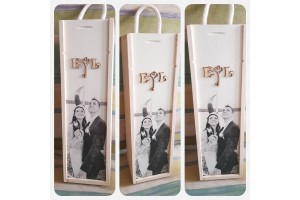 Personalized wine box with your photo 35x10,5x10,5 cm.