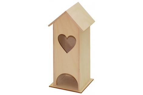 Medinis namelis - arbatinė su širdele 10x10x25 cm.