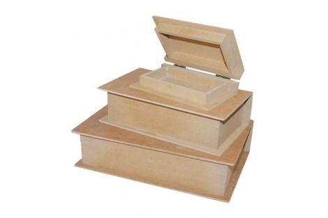 Dėžutės - knygos, komplektas, 3 vnt., KF93