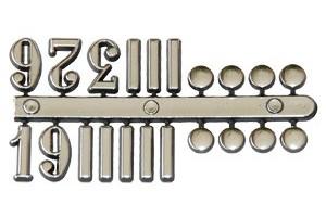 Skaičiai laikrodžiui arabiški 15 mm. sidabriniai 1296
