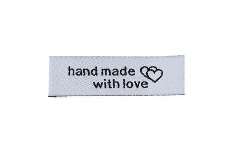 "Medvilninė etiketė ""hand made with love"" 50x15mm"