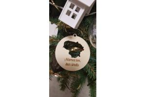 "Christmas toy with map of your country and personalized words ""Home where is your heart"""