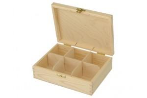 Medinė dėžutė arbatai 6 skyriai su spynele 1048