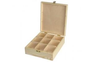 Medinė dėžutė arbatai 9 skyriai su spynele 1047